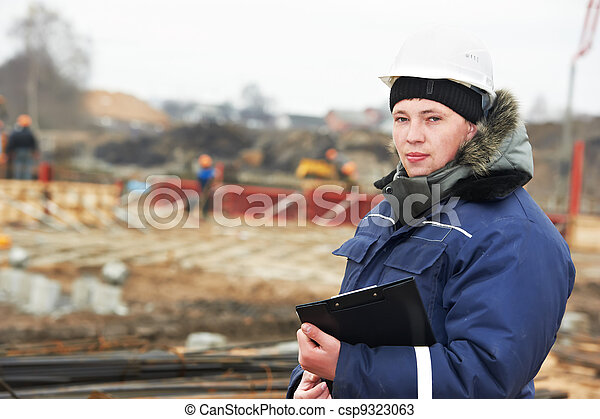 builder resident engineer at construction site - csp9323063