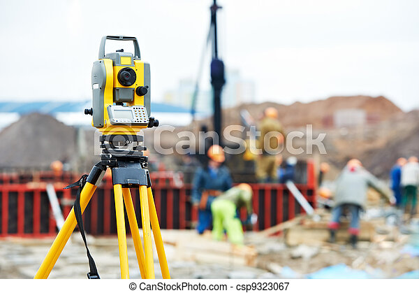 surveyor equipment theodolite at construction site - csp9323067