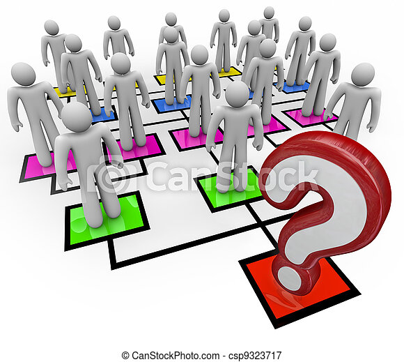 Question Mark Lack of Leadership Org Chart - csp9323717