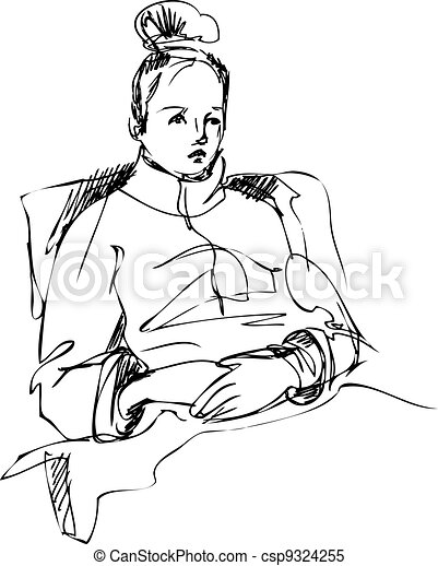 girl sitting on a bed wrapped in a rug - csp9324255