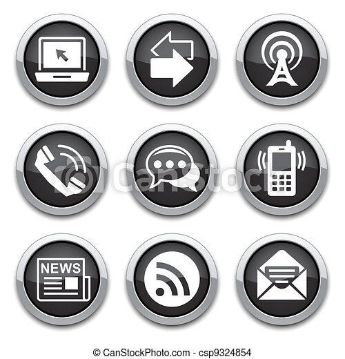 black communication buttons - csp9324854