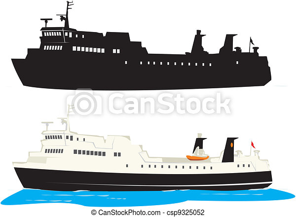 Vector Illustration of Travel - ferry boat - passenger ship, ferry icon csp9325052 - Search ...