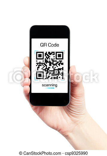 Hand Holding Mobile Phone With QR Code Scanner - csp9325990