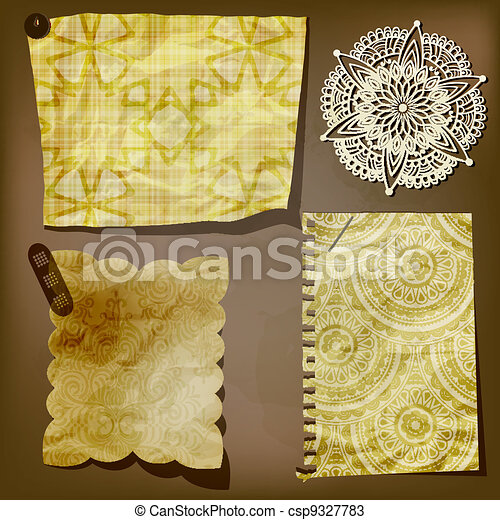 Scrap template of vintage paper piecesand lacy flower - csp9327783