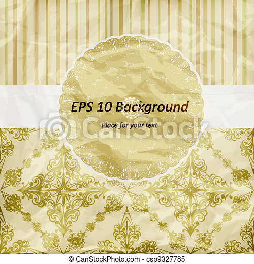 vector vintage pattern, golden napkin on floral and striped background, crumpled paper texture - csp9327785