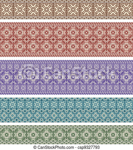 set of five astern style seamless borders - csp9327793