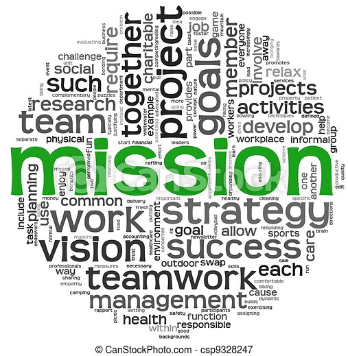 Mission concept in word tag cloud - csp9328247