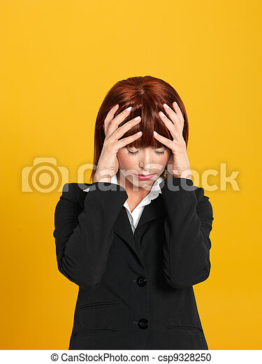 attractive, young businesswoman having a head ache - csp9328250