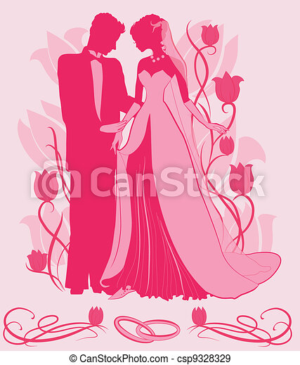 Ornate Bride  and Groom Silhouette - csp9328329