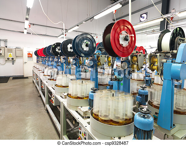 detail of thread factory production line - csp9328487