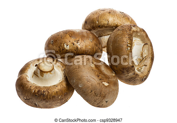 Portobello mushrooms isolated on white - csp9328947
