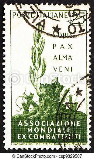 Postage stamp Italy 1959 A Gentle Peace has Come - csp9329507