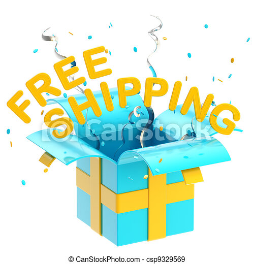 "Word ""free shipping"" inside a gift box - csp9329569"