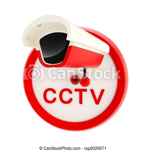 Closed circuit television alert sign - csp9329571