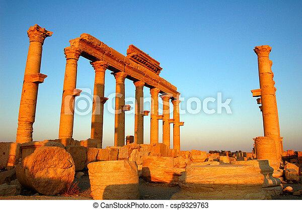 Relics of Palmyra in Syria at sunset - csp9329763