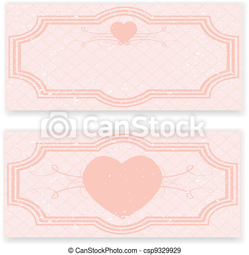 Retro wedding invitation in pink colors - csp9329929