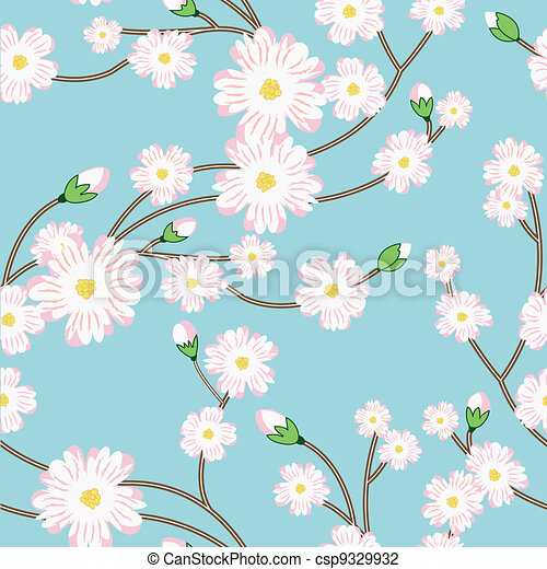 Seamless pattern with tree blossoming brunch - csp9329932