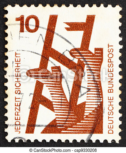 Postage stamp Germany 1972 Broken Ladder, Accident Prevention - csp9330208