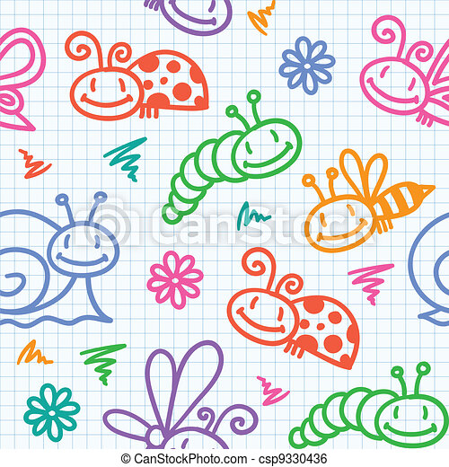 hand drawn pattern with insects - csp9330436