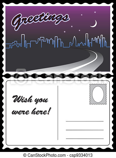 City Night Skyline Travel Postcard - csp9334013