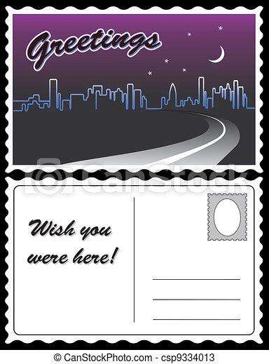 City Night Skyline Travel Postcard - csp9334013