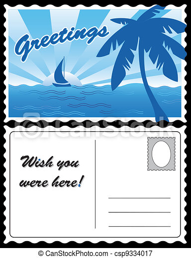 Cool Tropical Travel Postcard - csp9334017