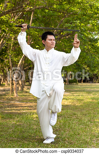 chinese kung fu with sword - csp9334037