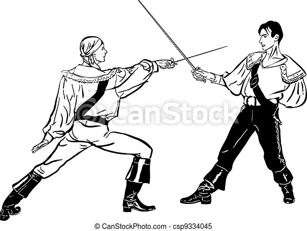 sketch of steam of fencers battle on a duel - csp9334045