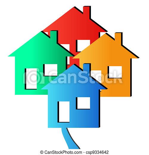 Vector 3D Houses - csp9334642