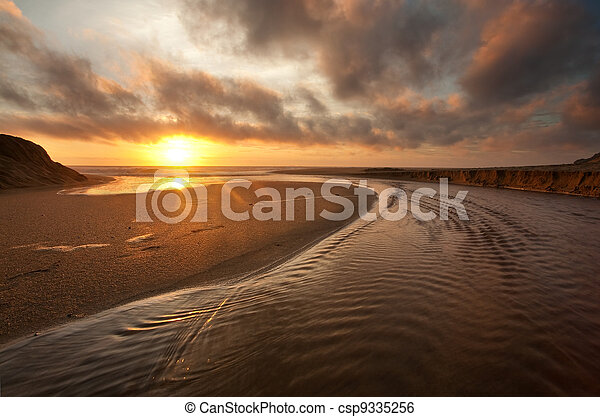 California Beach at Sunset - csp9335256