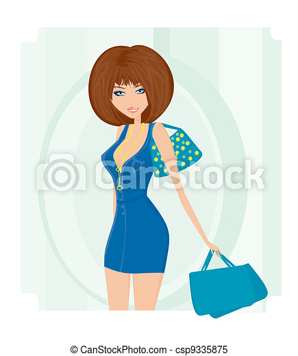 Glamour girl with shopping bag - csp9335875