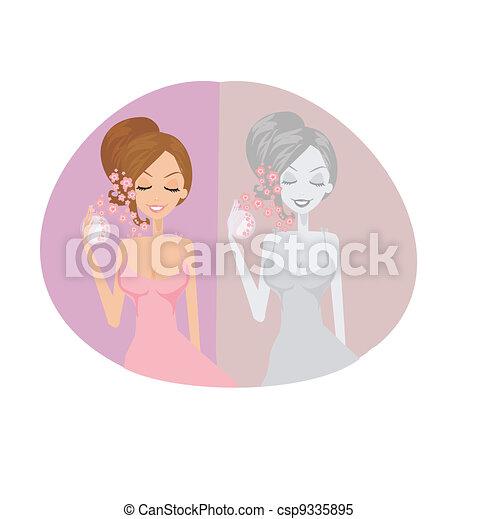 woman spraying perfume on herself - csp9335895