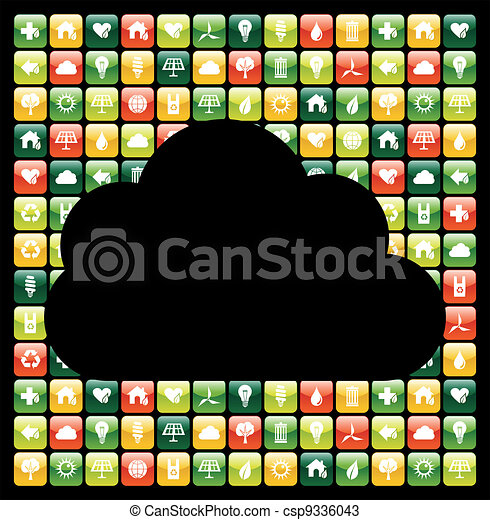Global mobile phone green apps icons cloud - csp9336043