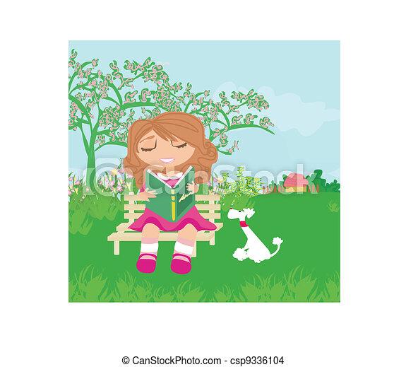Teen girl Reading A Book - csp9336104