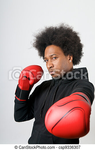 African American Boxer in defence - csp9336307