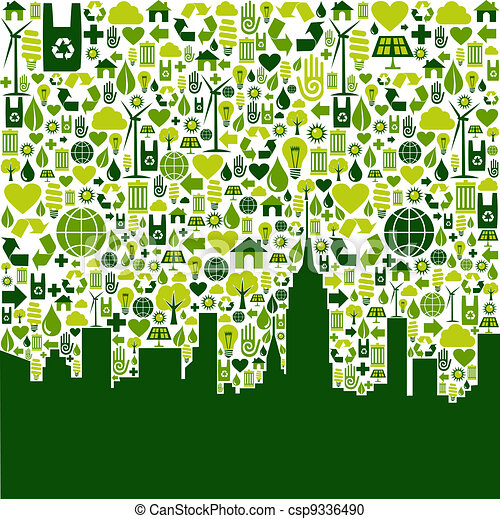 Green city eco icons background - csp9336490