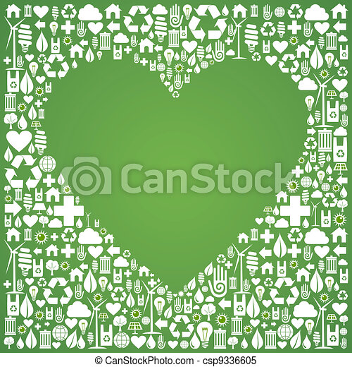 Ecology love concept icons background - csp9336605