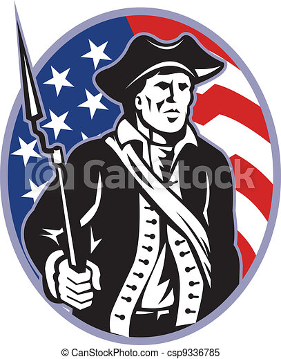 American Patriot Minuteman With Bayonet Rifle And Flag - csp9336785
