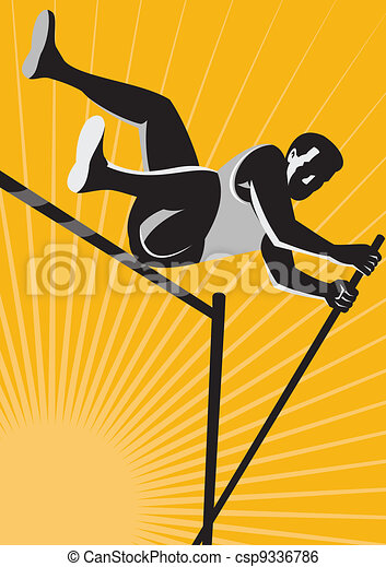 Track and Field Athlete Pole Vault High Jump Retro - csp9336786