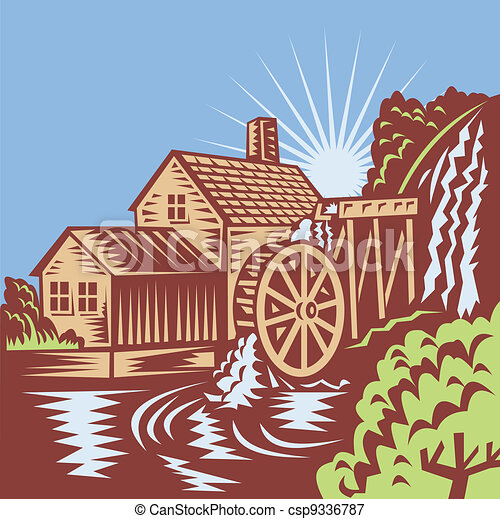 Vectors Illustration Of Water Wheel Mill House Retro Illustration Of A Water Wheel