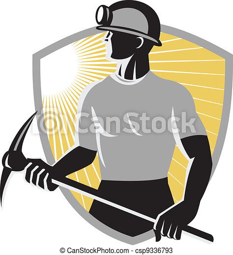 Coal Mining Drawings Coal Miner With Pick ax Shield