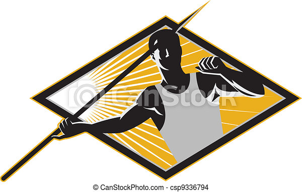 Track and Field Athlete Javelin Throw Retro - csp9336794