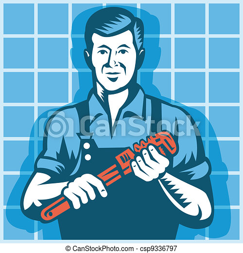 Plumber Worker With Monkey Wrench R - csp9336797