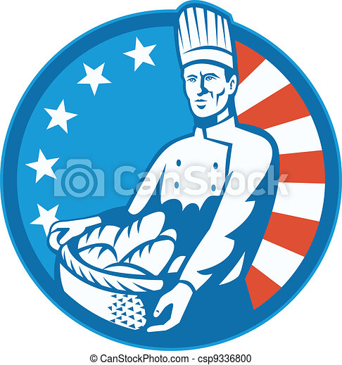 American Chef Baker Cook With Basket Loaf Bread - csp9336800