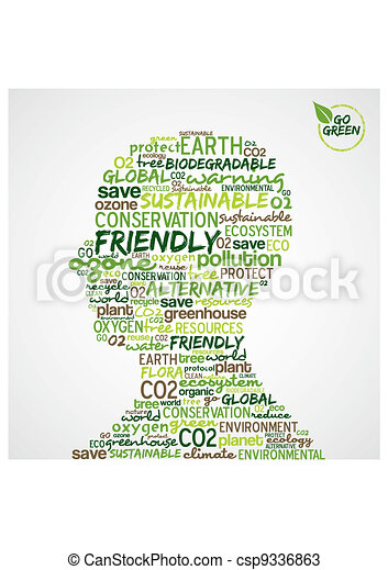 Go Green. Man head with words cloud about environmental conservation. Vector file available. - csp9336863