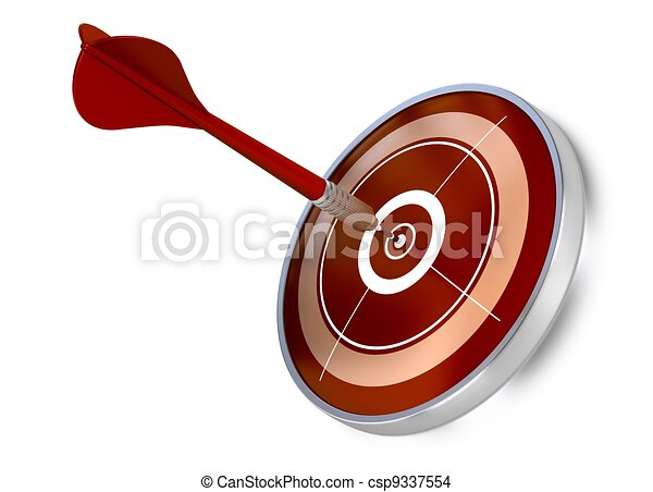 red dart hitting the center of a red target, white background, modern design - csp9337554