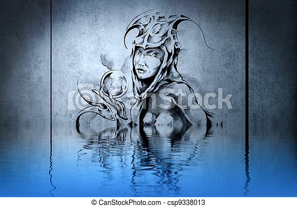 Tattoo wood nymph on blue wall with water reflections - csp9338013