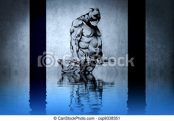 Warrior tattoo on blue wall with water reflections - csp9338351