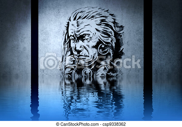 Indian chief's head on blue wall reflections in the water - csp9338362
