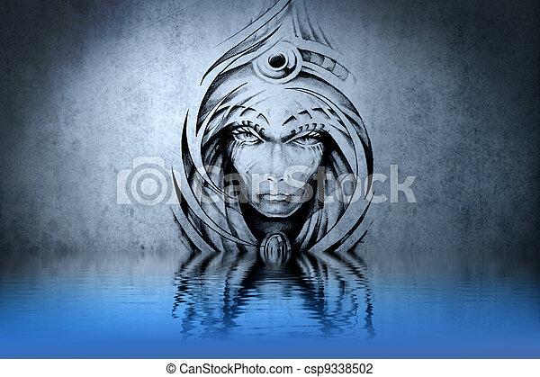 gargouille, tatouage, pierre, mur, bleu, eau, réflexions - csp9338502